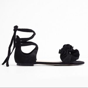 Express Black Ruffle Lace Up Sandals